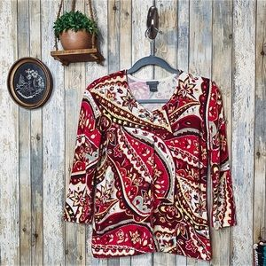 Ann Taylor Red Yellow Paisley 3/4 Sleeve Cardigan